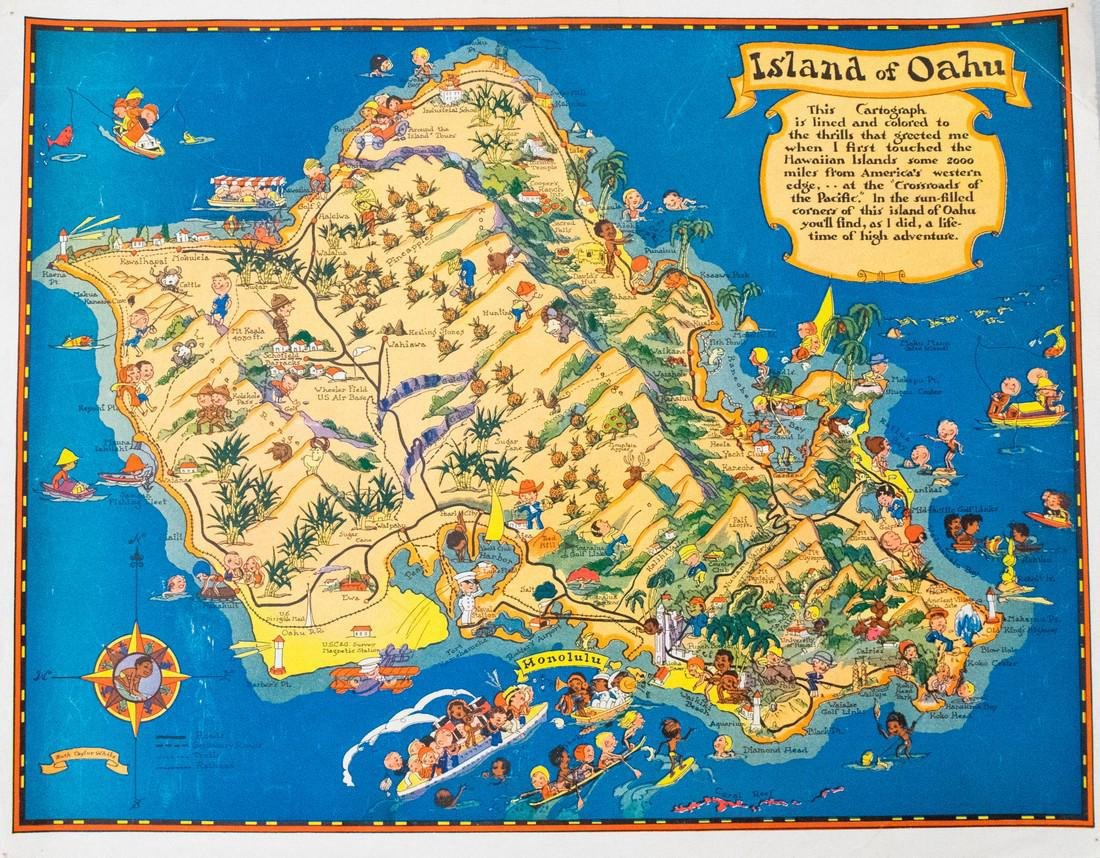 White: Vintage Pictorial Map of Oahu, 1930