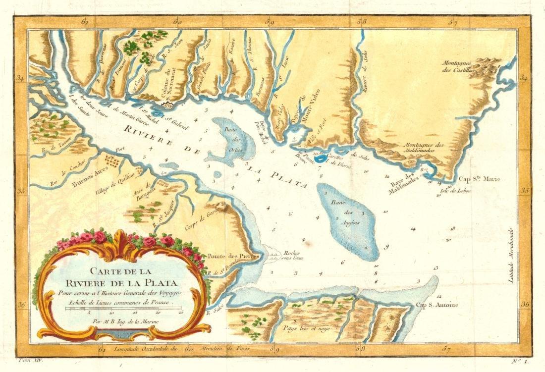 Bellin: Antique Map of the River la Plata, 1758