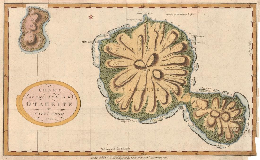 James Cook: Antique Chart of Island of Otaheite, 1775