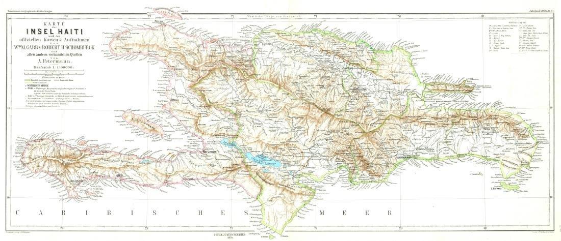 Petermann: Antique German Map of Haiti, 1874