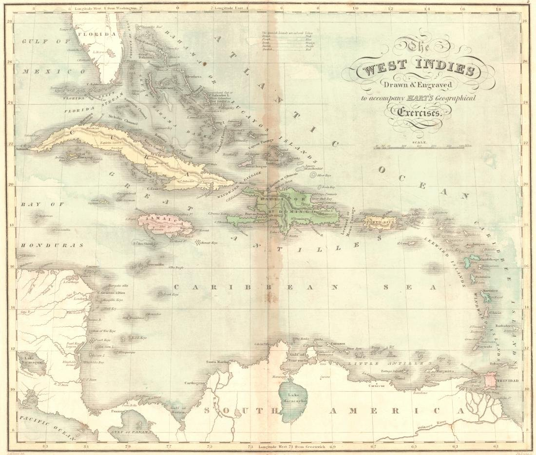 Hart: Antique Map of The West Indies, 1828