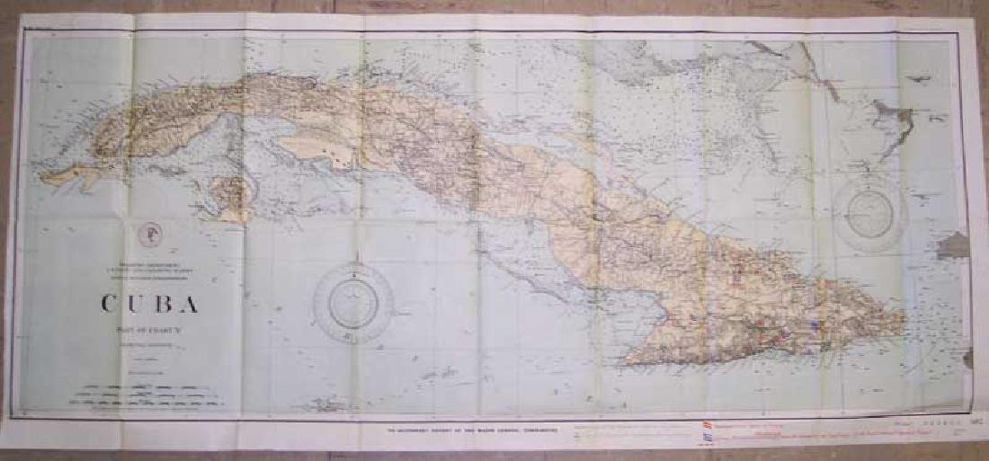 Antique Long Military Map of Cuba, 1898