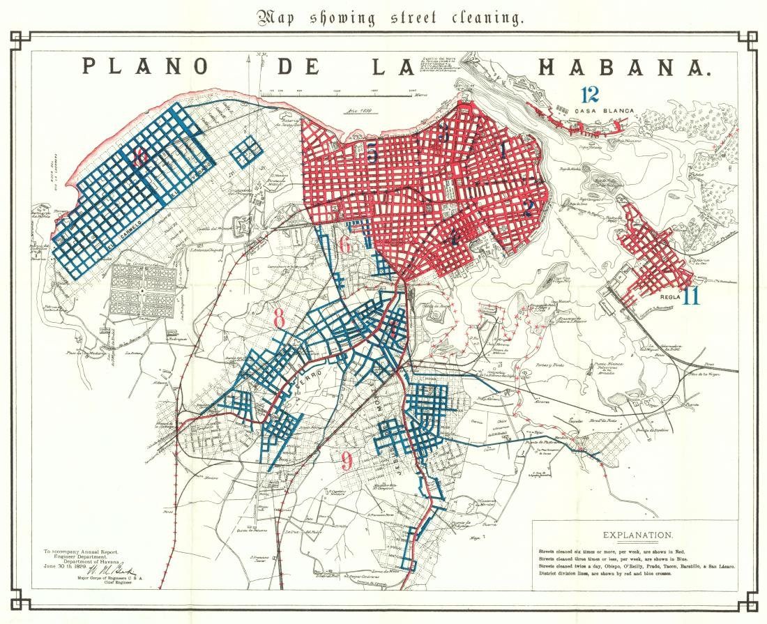 US Army: Antique Plan of Habana showing Street Cleaning