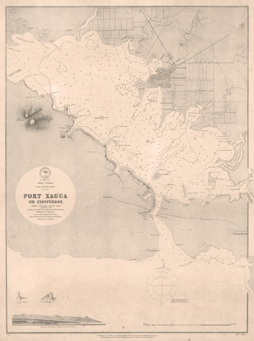 Antique Map of Cuba; Port Xagua Or Cienfuegos, 1884