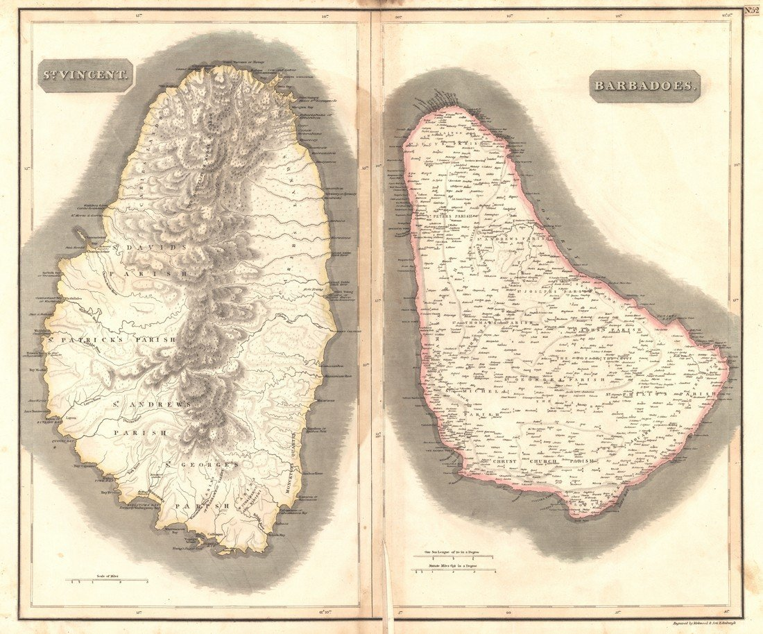 Thomson: Antique Map of Island of St. Vincent, 1817