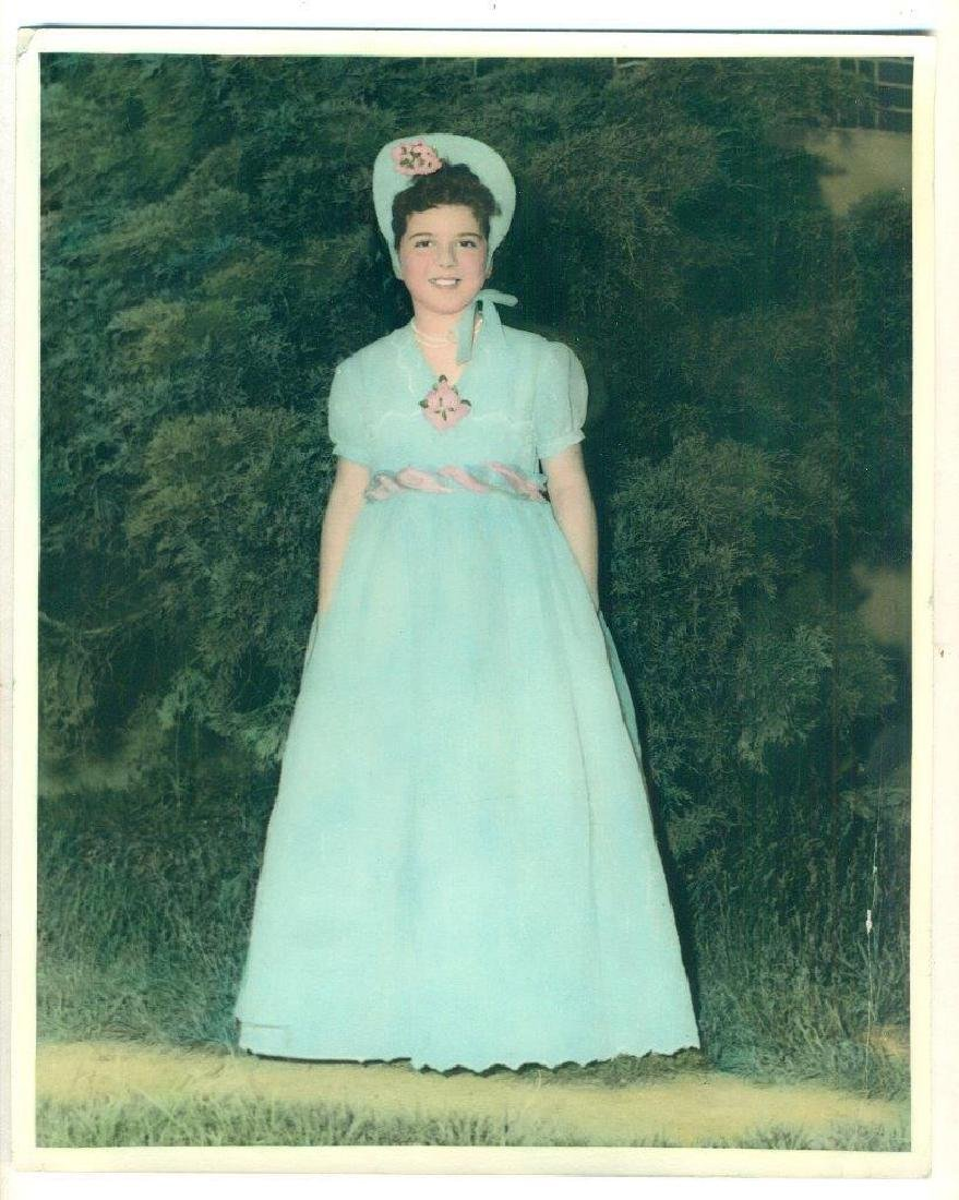Heavy Tinted Vintage Photo Cute Girl in Tiffany Blue