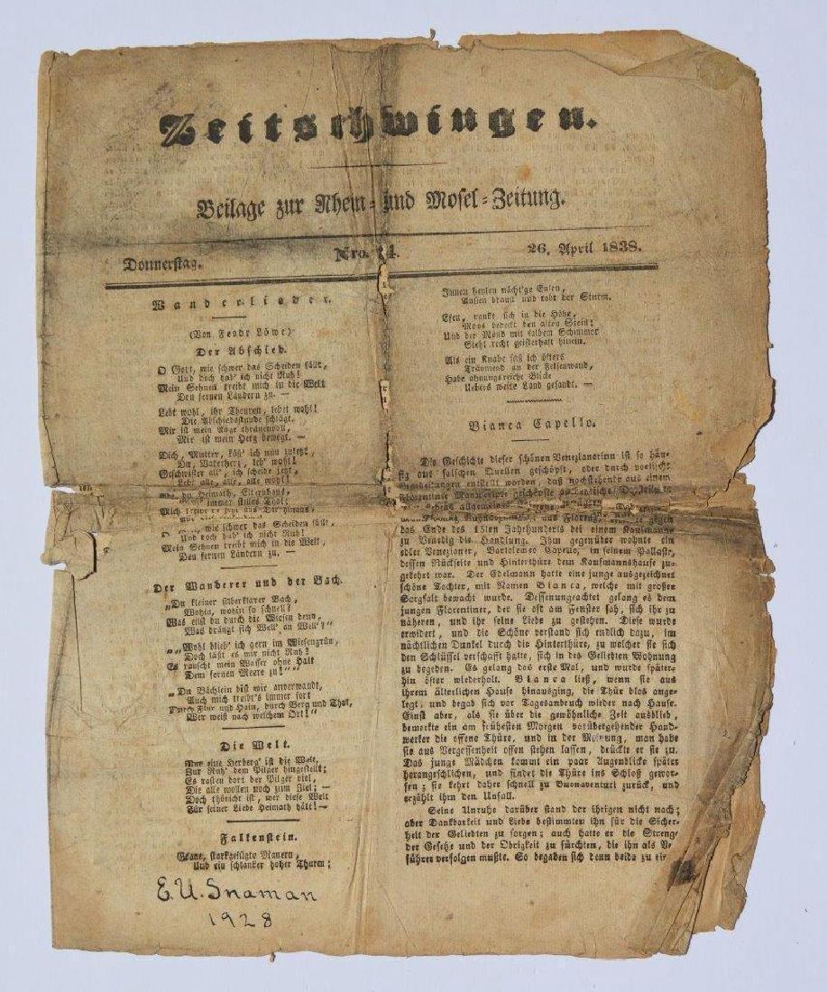 Antique 1838 German Newspaper Zeitschwingen Beilage Zur