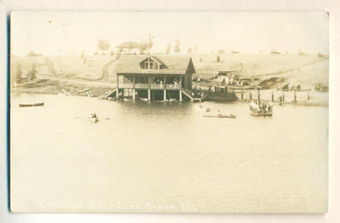 Vintage 1916 Crescent Lake Illinois Photograph Postcard