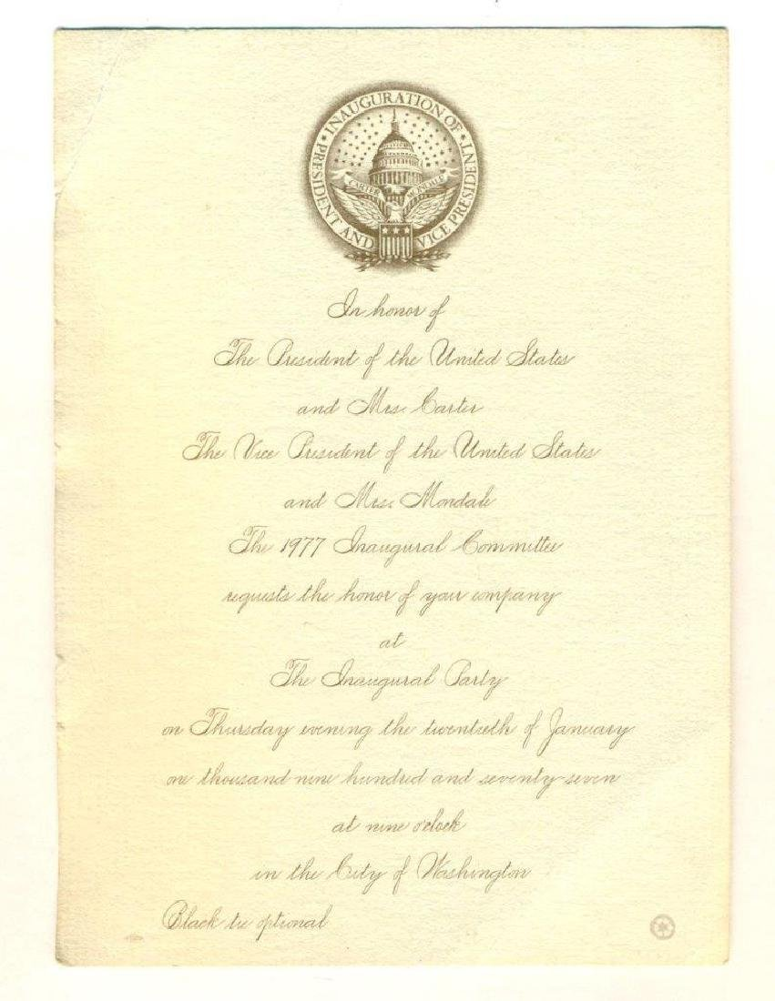 Vintage 1977 Inaugural Party Invitation Pres Carter