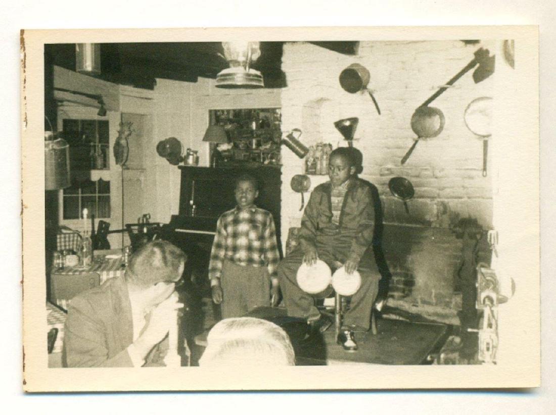 Vintage Snapshot Child Musician Perform Restaurant