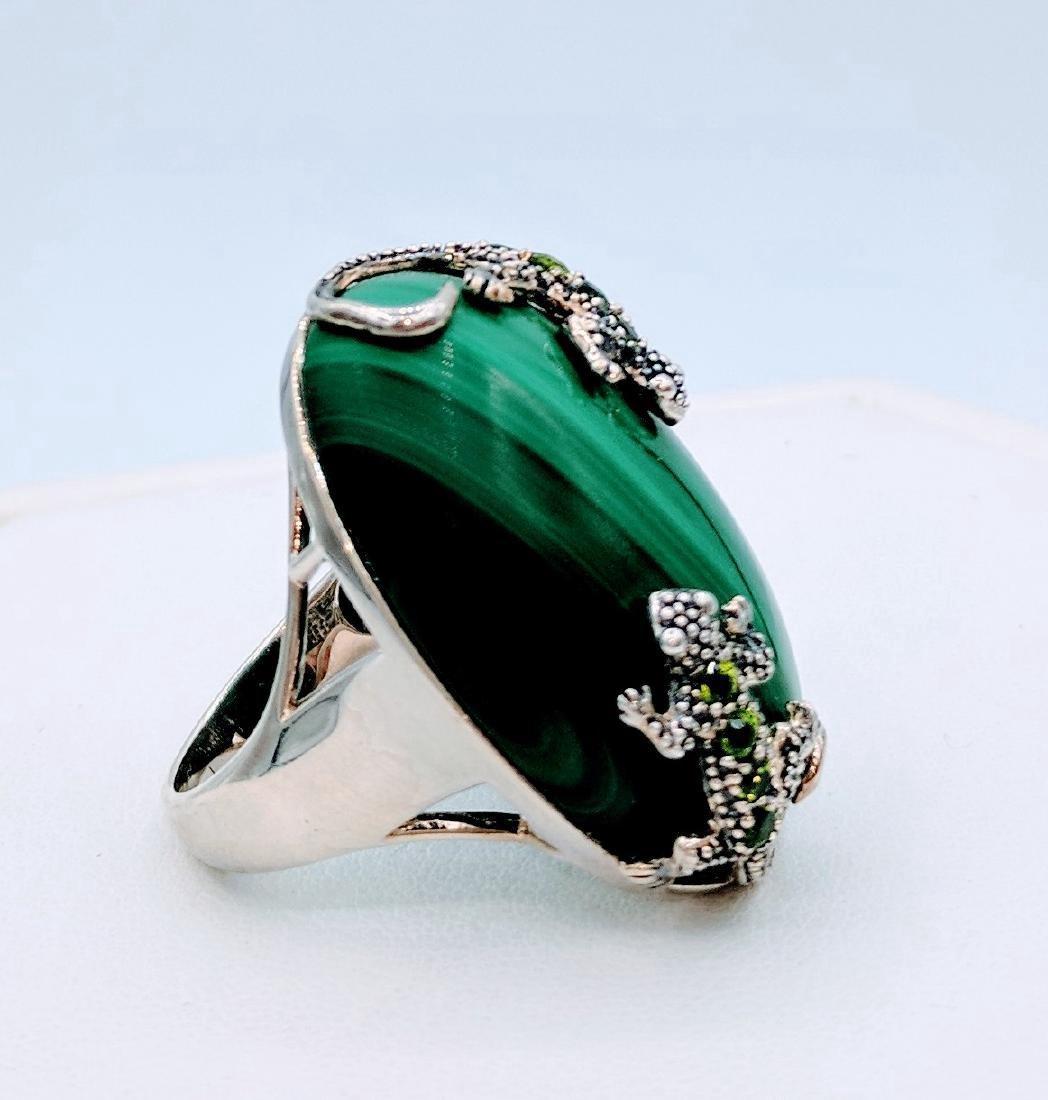 Sterling Silver Malachite Peridot Lizard Ring, .24ctw