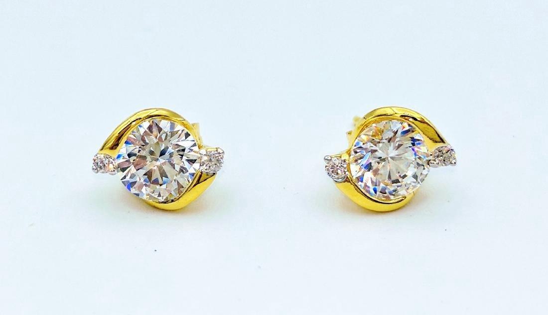 Gold Tone Sterling Cubic Zirconia Earrings, 1.31ctw