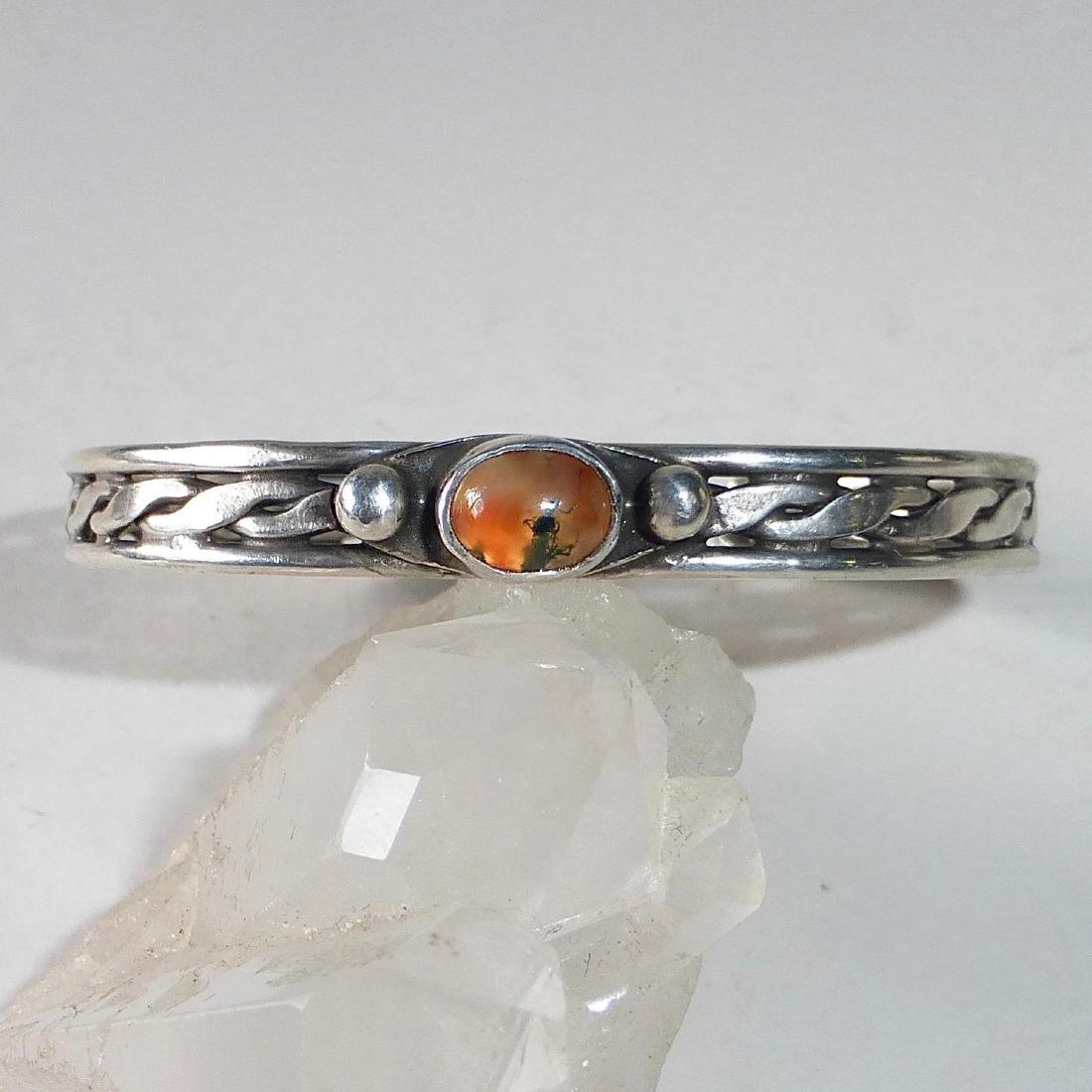 Vintage Sterling Silver Moss Agate Cuff Bracelet