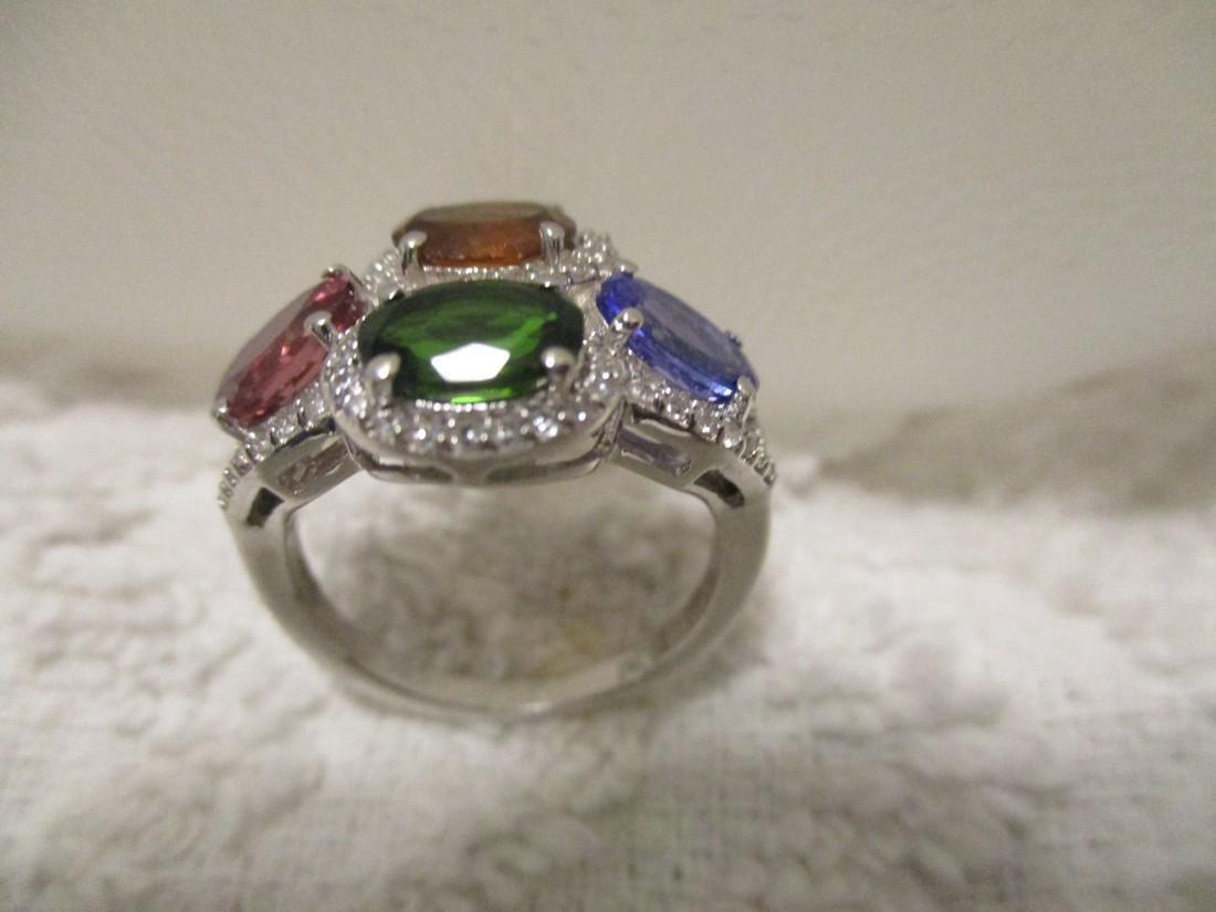 Sterling Silver Multi Gemstone Ring, 3.65ctw