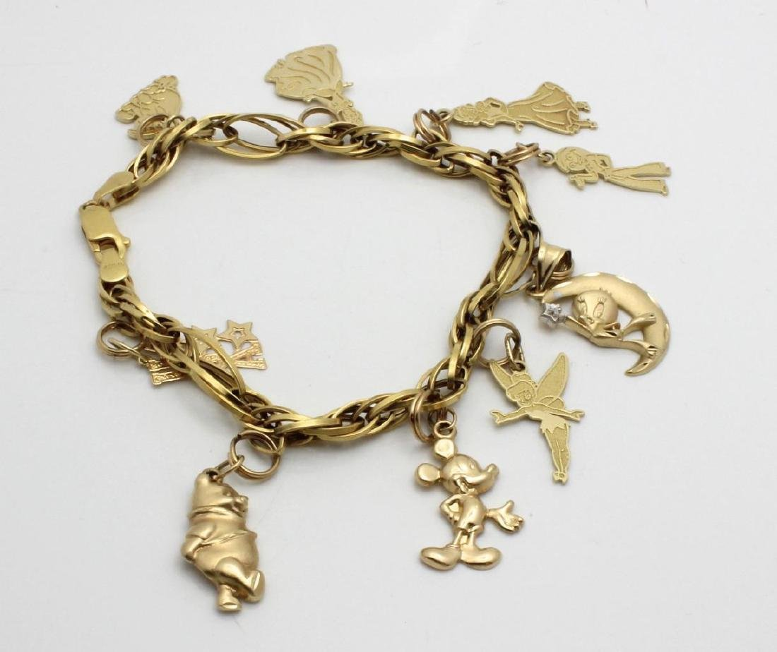 14K Yellow Gold Disney Charm Bracelet, 9 Charms