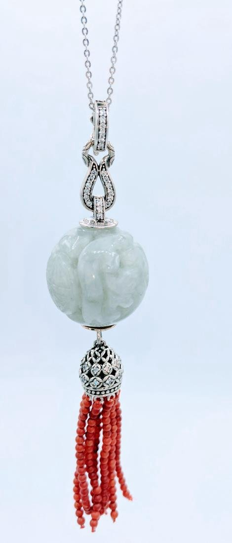Sterling Silver Engraved Jade Cubic Zirconia Necklace