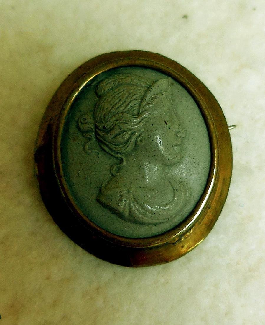 Antique Victorian Gold Filled Lava Cameo Brooch, 1860
