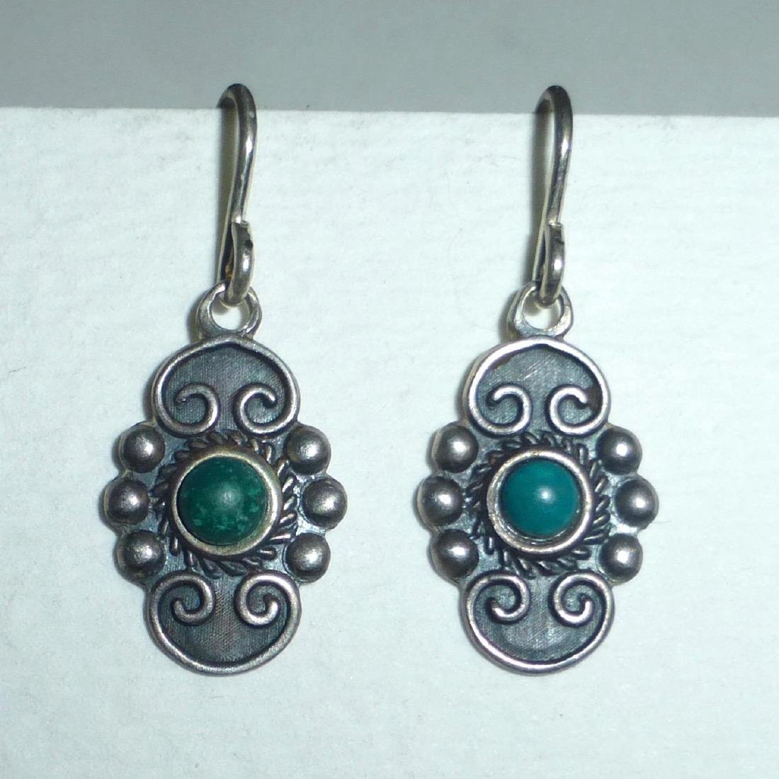 Vintage Mexican Sterling Silver Turquoise Drop Earrings