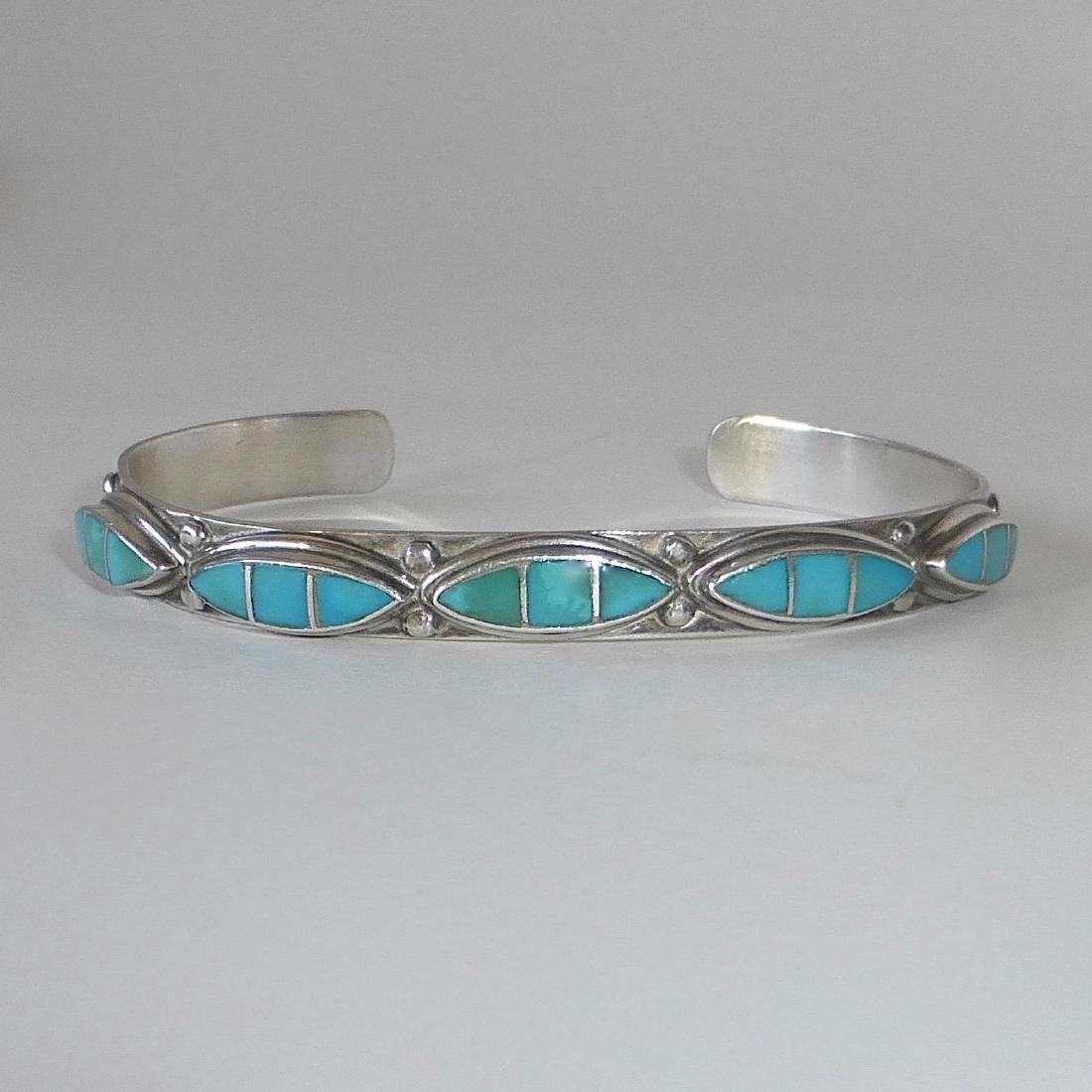 Vintage Southwest Sterling & Turquoise Cuff Bracelet