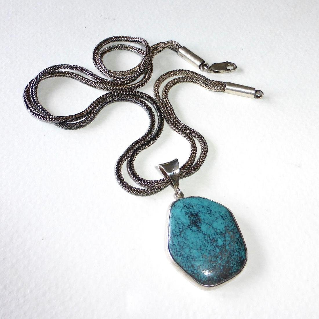 Vintage Sterling Silver Spiderweb Turquoise Necklace