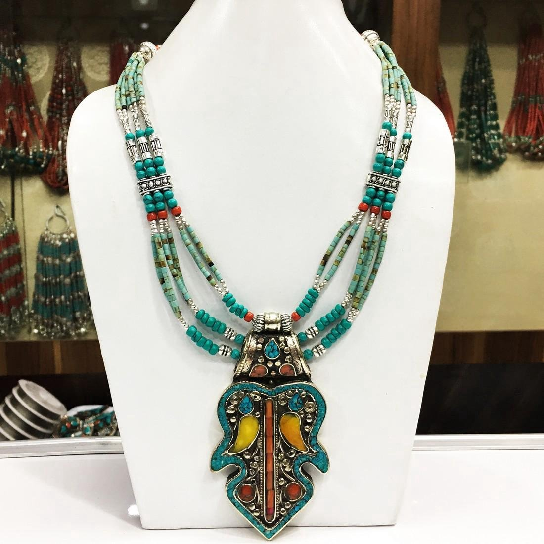 Vintage Tibetan Silver Turquoise & Coral Necklace - 2