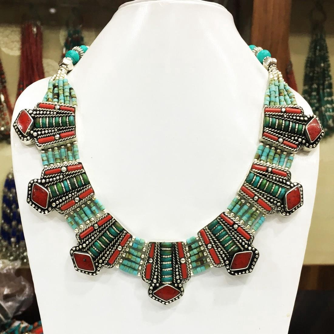 Tibetan Silver Turquoise Coral Nepali Necklace