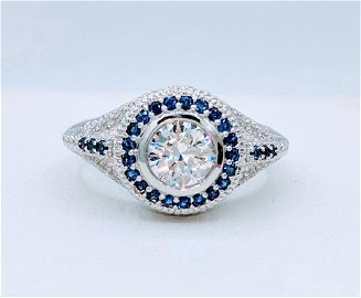 Sterling Silver Sapphire Cubic Zirconia Ring, 1.5ctw