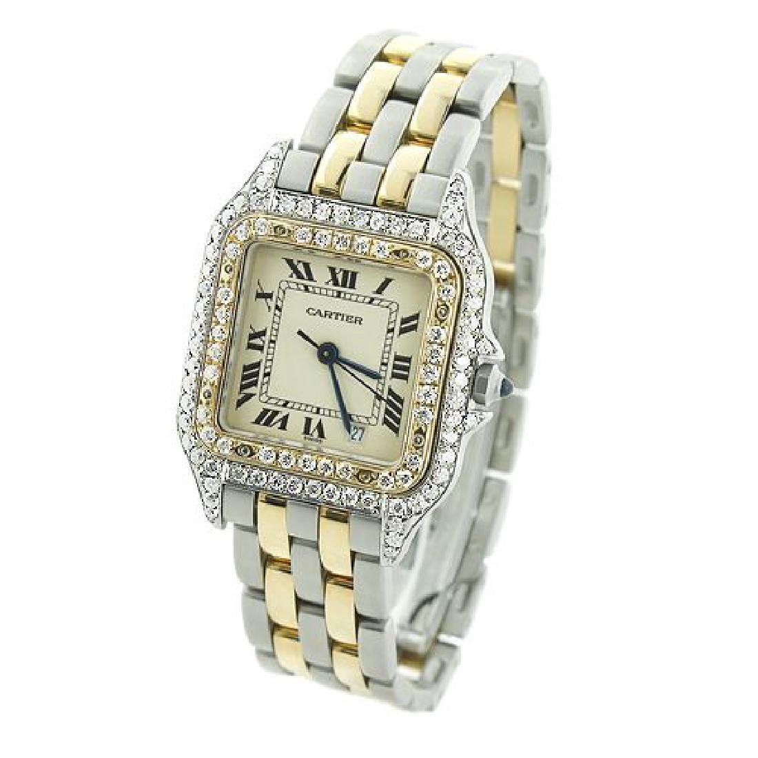 Vintage Cartier Panthere 18K Gold Steel Diamond Watch