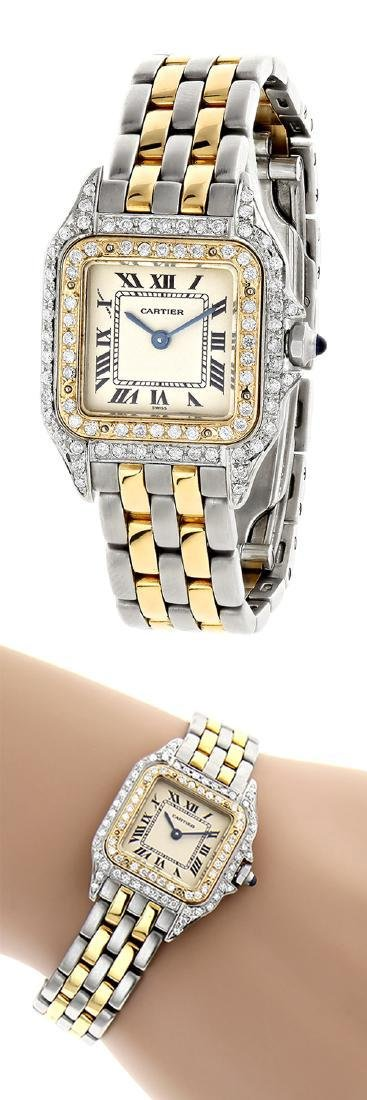 Vintage Cartier Panthere 18K Gold Steel Diamond Watch - 2