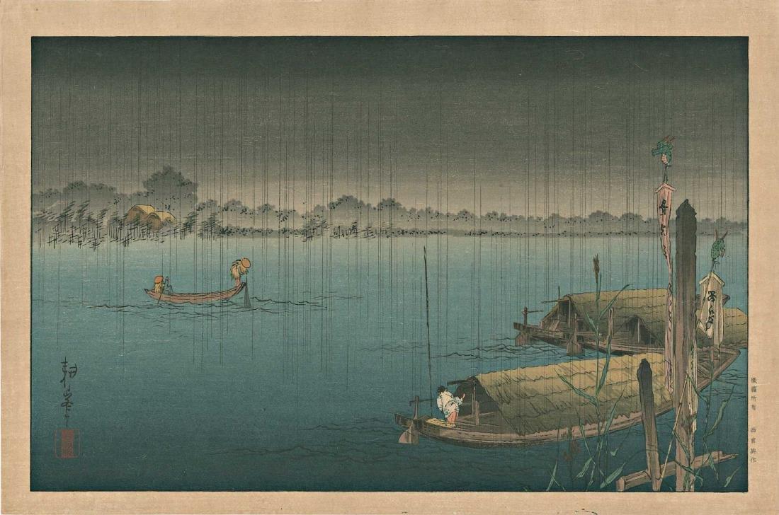 Eisen Keisai Boats Docked Japanese Woodblock Print