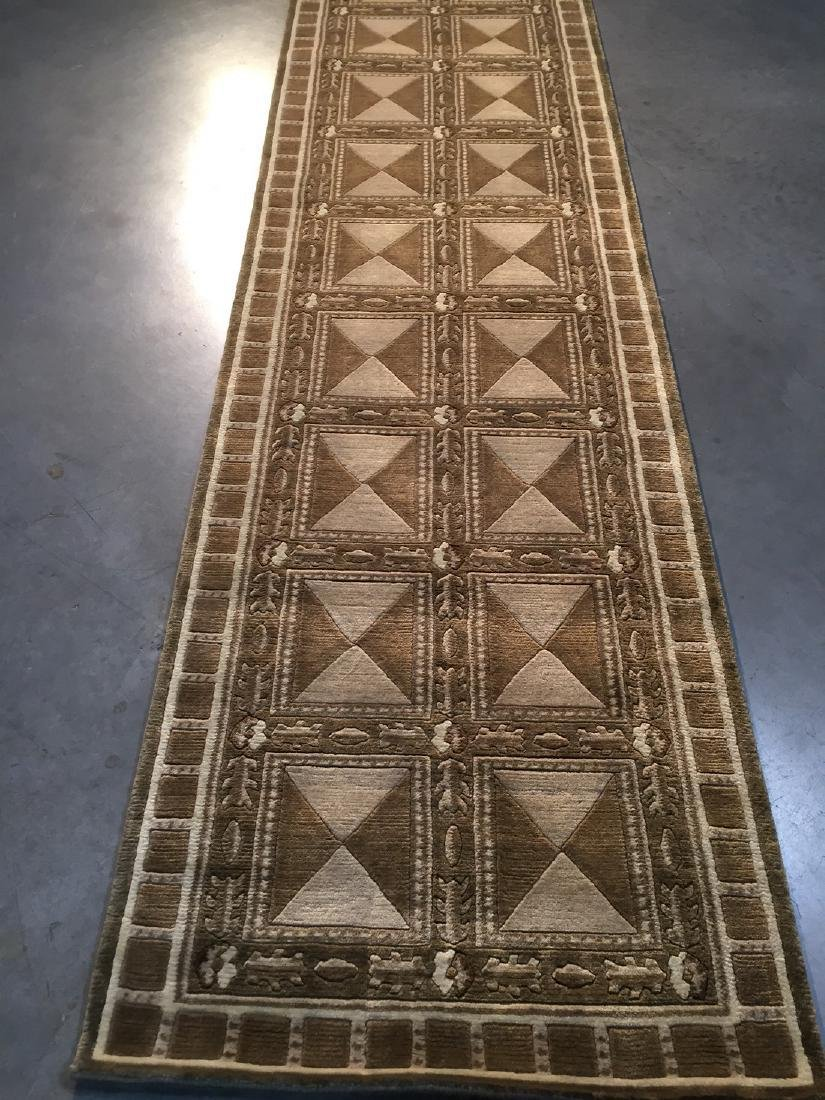 Contemporary Design Wool Hand Knotted Runner Rug 2.6x8