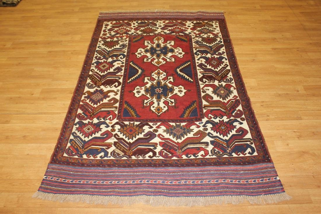 Wide Border Mixed Technique Baluch Area Rug 4.3x6.8