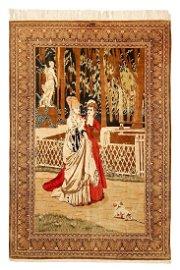 Rare Persian Fine Qum Silk Ghom Signed Rug 5x7