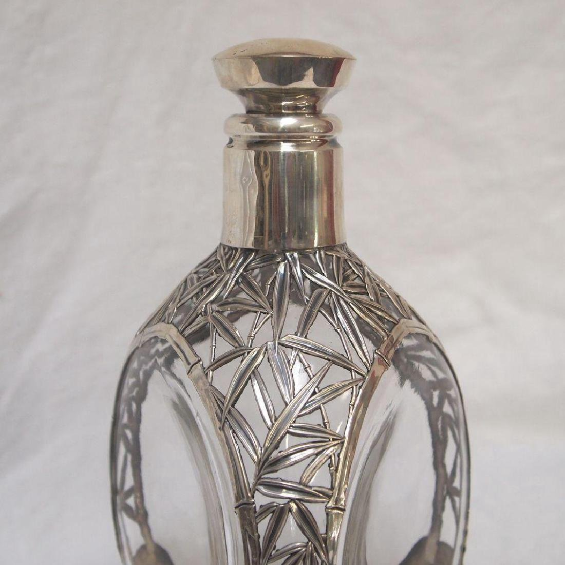 Vintage Chinese 970 Silver Glass Pinched Decanter - 3