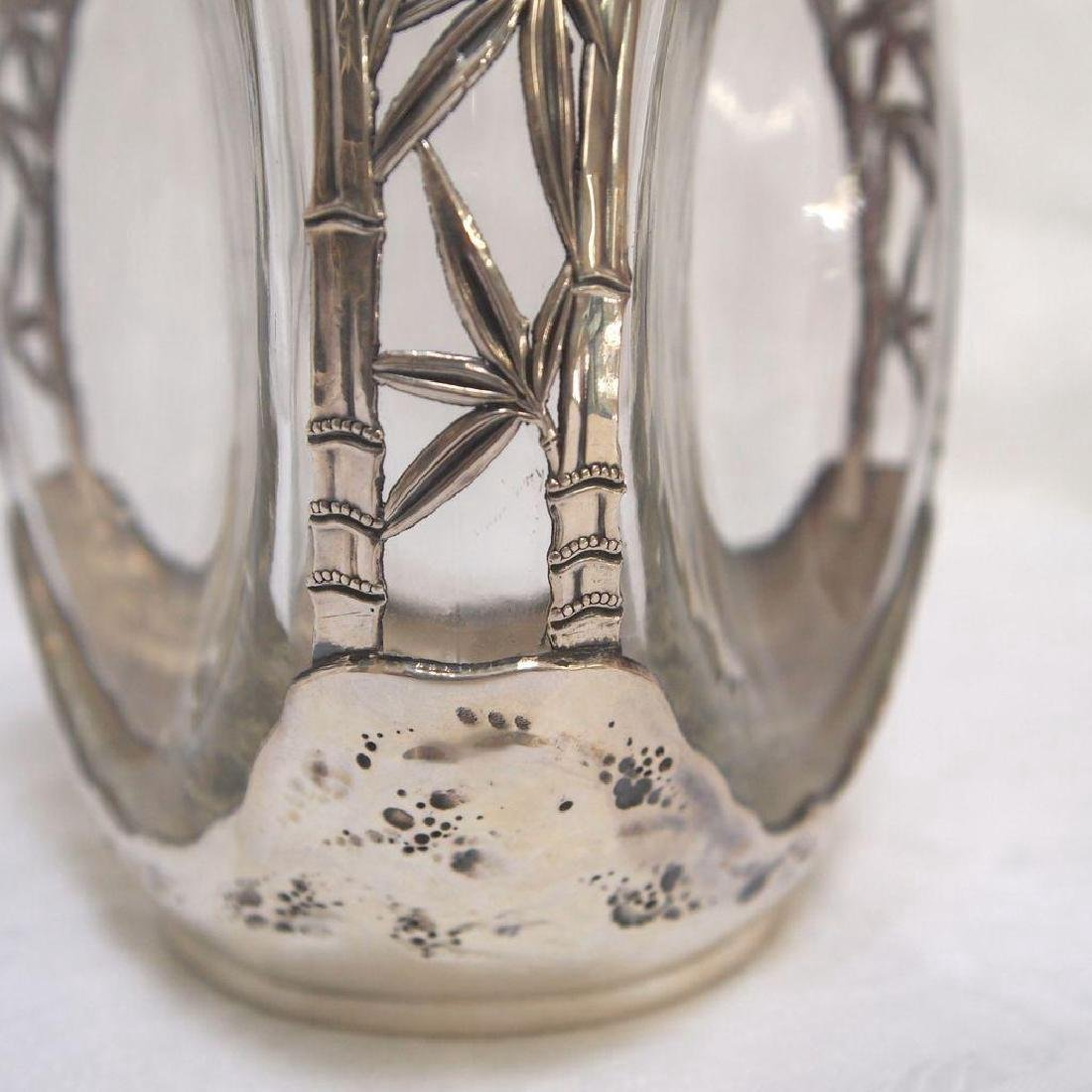 Vintage Chinese 970 Silver Glass Pinched Decanter - 4