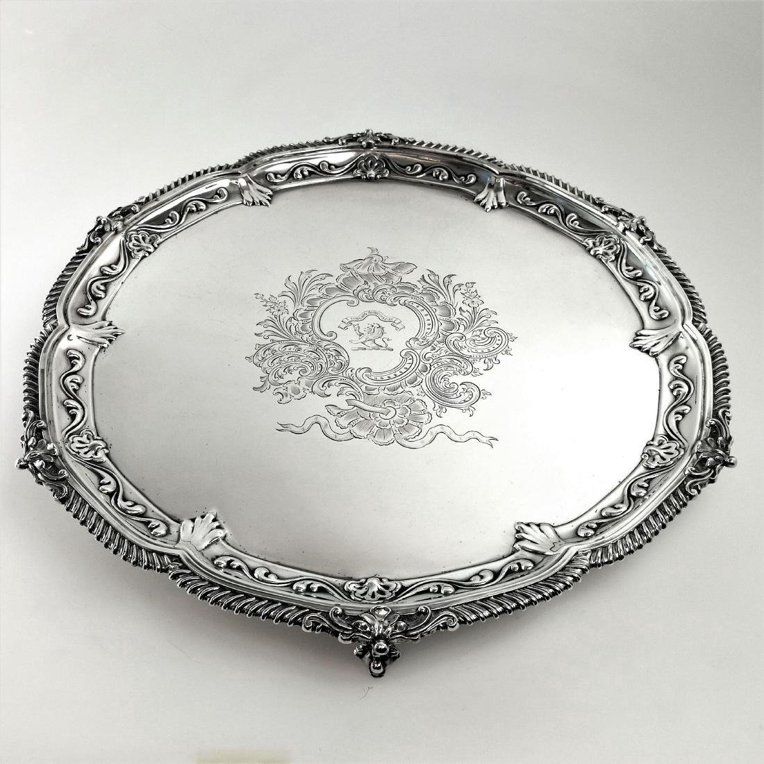 """Antique Victorian 19"""" Sterling Silver Salver/Tray, 1897"""