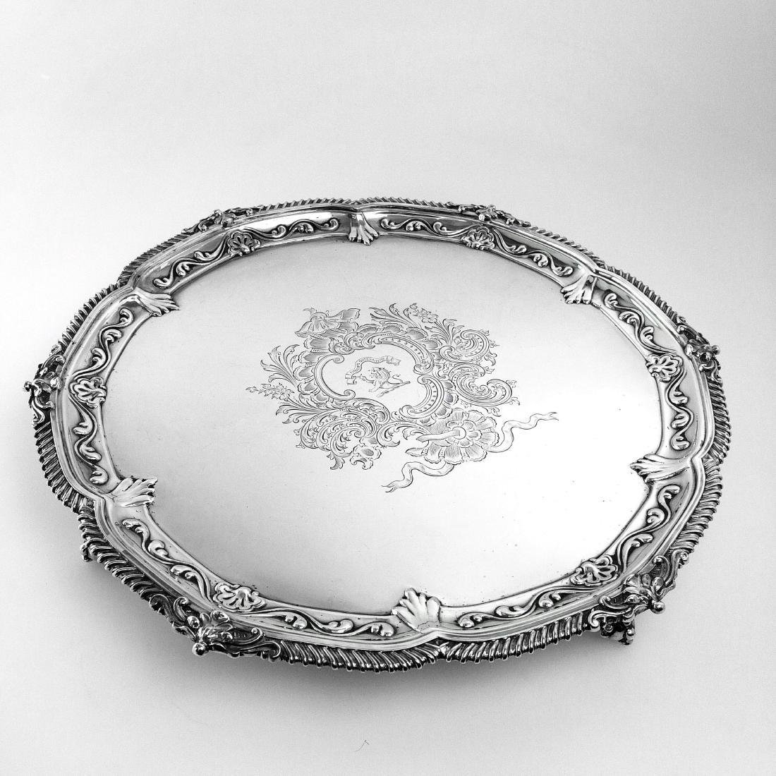 """Antique Victorian 19"""" Sterling Silver Salver/Tray, 1897 - 2"""