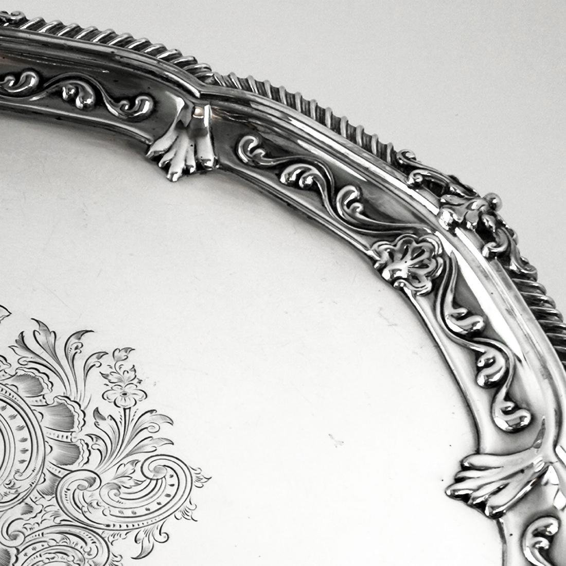"""Antique Victorian 19"""" Sterling Silver Salver/Tray, 1897 - 4"""