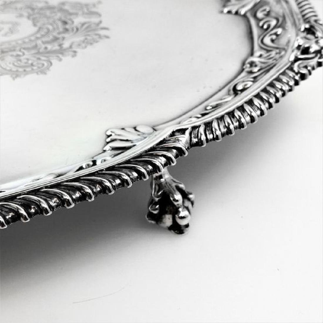 """Antique Victorian 19"""" Sterling Silver Salver/Tray, 1897 - 6"""