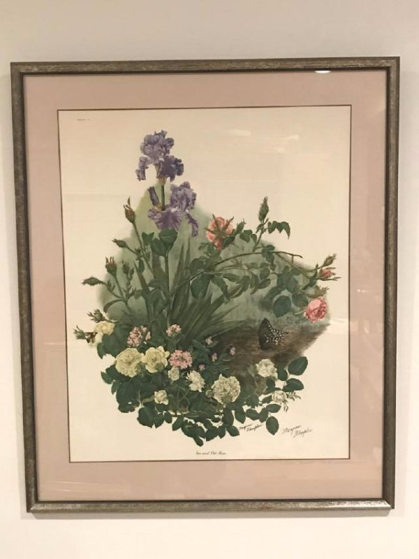 Maryrose Wampler Iris and Old Roses Lithograph