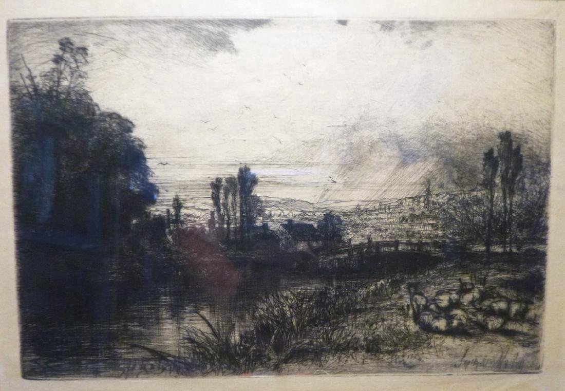 On The Test. Sir Seymour Haden Original etching