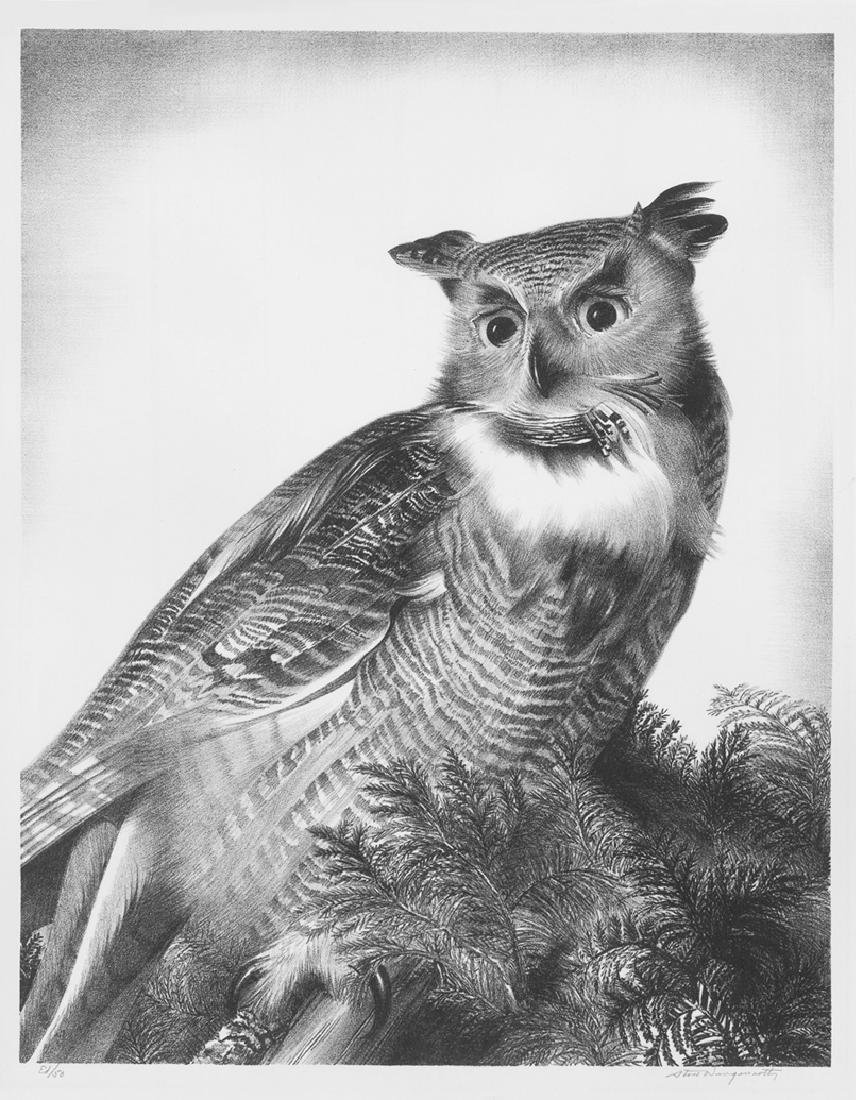 Stow Wengenroth Great Horned Owl Lithograph