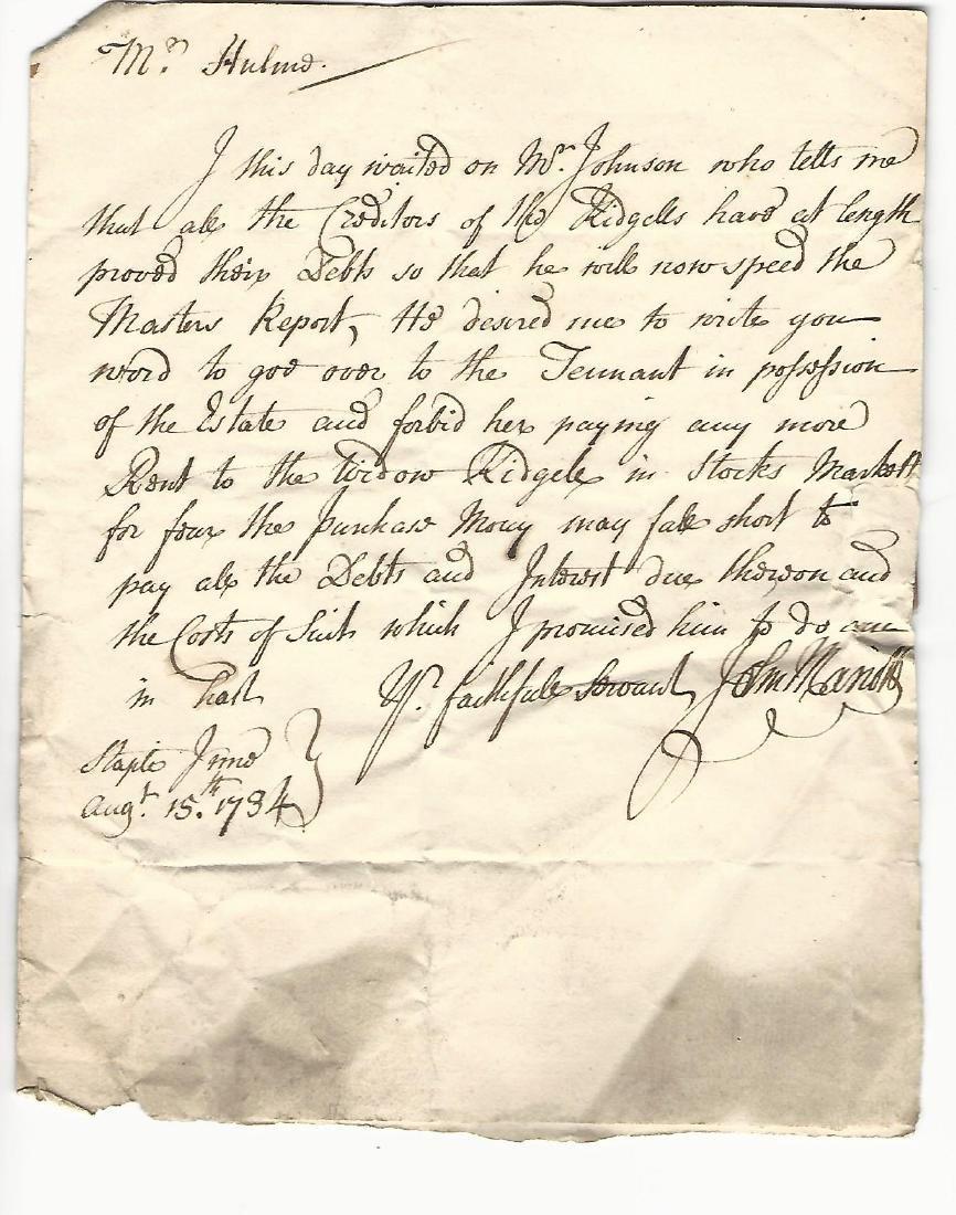 1734 English Folded Letter w/ Postmark to Barronet