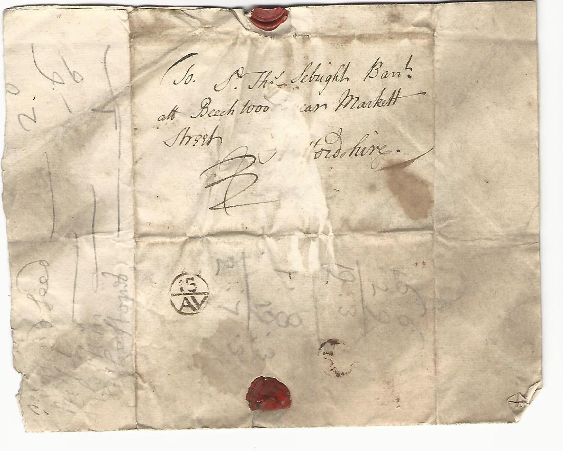 1734 English Folded Letter w/ Postmark to Barronet - 2