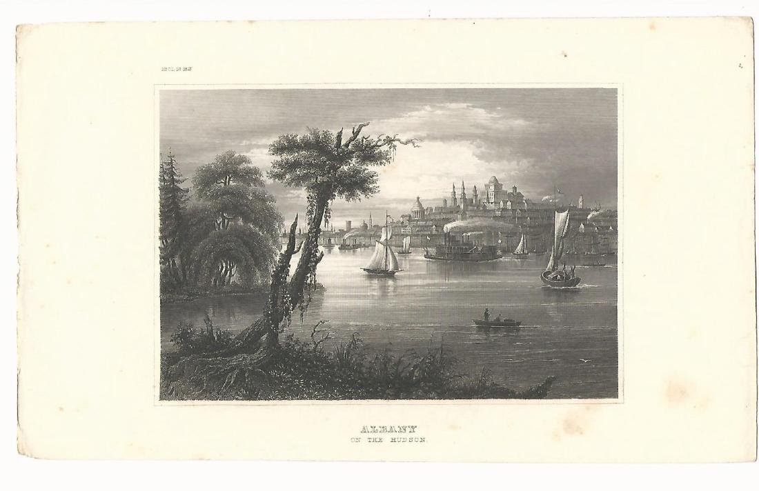 1850 Steel Engraving Albany on the Hudson