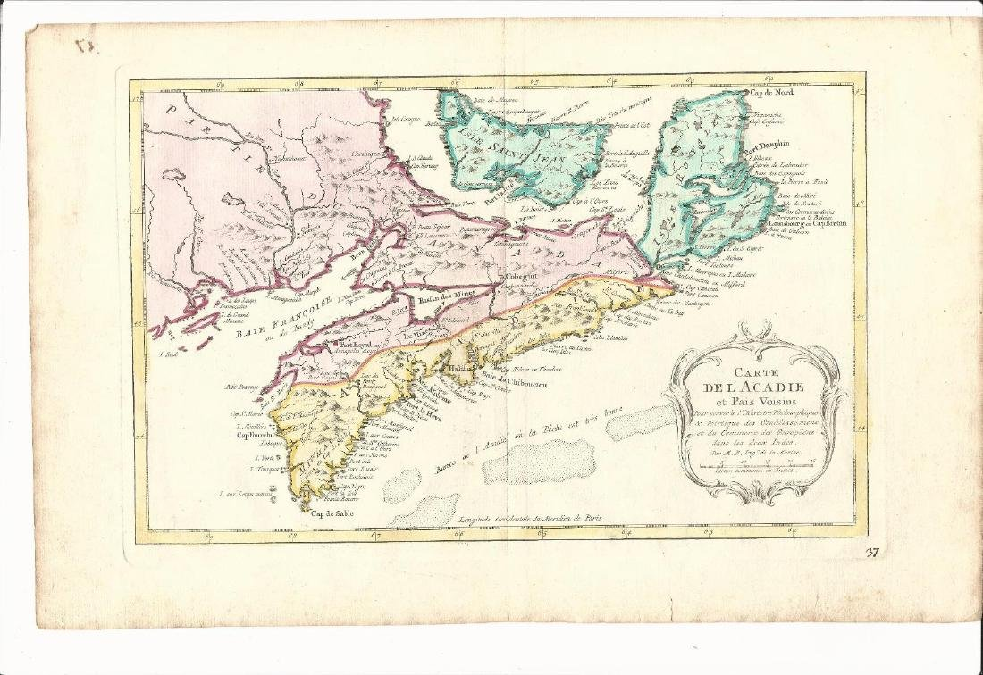 1764 Hand Colored Map Acadia Canada Jacques Bellin