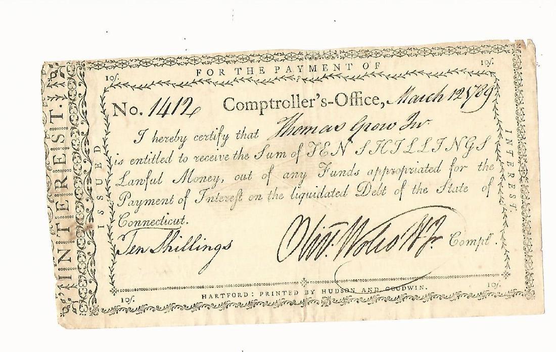 1789 Interest Certficiate Signed Oliver Wolcott Jr