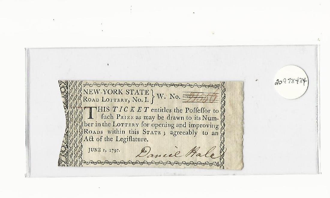 1797 Partially Printed New York State Lottery Ticket