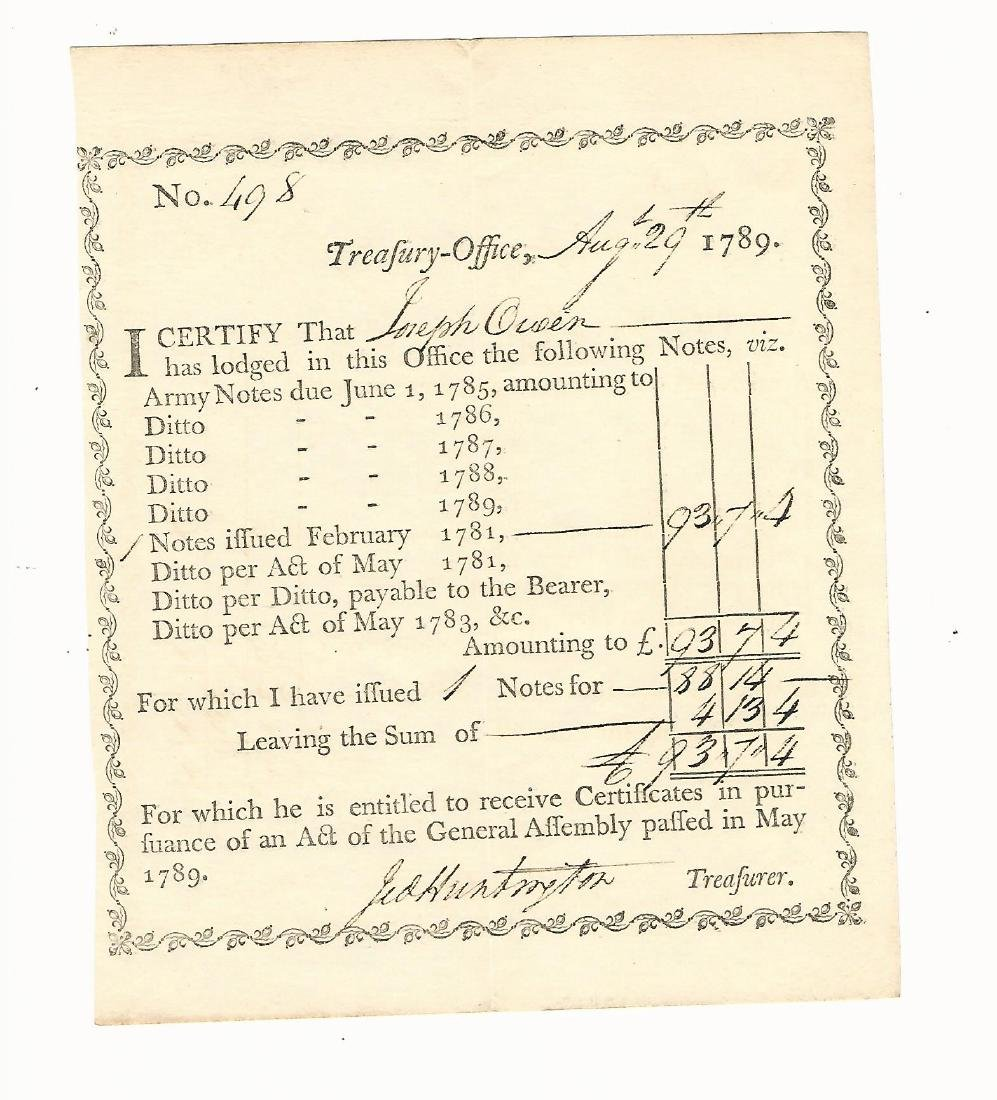 1789 Treasury Certificate signed by Revolutionary War