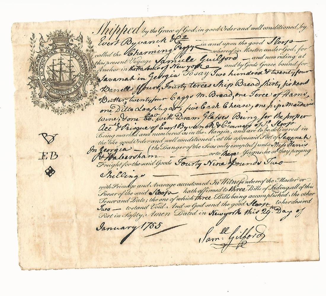 1755 Colonial Bill of Lading Sloop Chraming Peggy